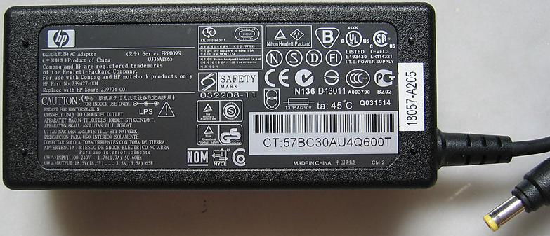 HP PPP009S AC ADAPTER 18.5V DC 3.5A 65W -(+)- 1.7x4.7mm 100-240V