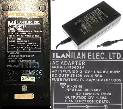 ILAN F19603A AC ADAPTER 12V DC 4.58A POWER SUPPLY