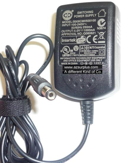 INFORMATION TECHNOLOGY S008CM0500100 AC ADAPTER 5VDC 1000mA USED