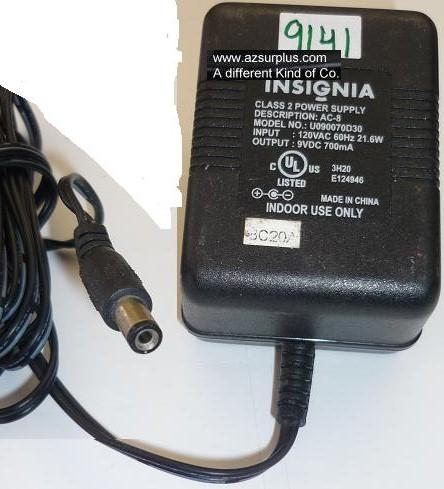 INSIGNIA U090070D30 AC ADAPTER 9VDC 700mA USED +(-)+ 2x5.5mm ROU