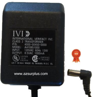 IVI A410851000 AC ADAPTER 8.5VAC 1000mA USED 2.5 x 5.5 x 12mm