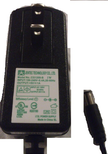 JENTEC CG1209-B AC ADAPTER +9VDC 1A USED 2.2 x 5.5 x 9.7mm