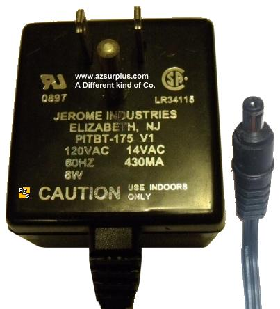 JEROME PITBT-175 V1 AC ADAPTER 14VAC 430mA ~(~) 2x5.5mm Used POW