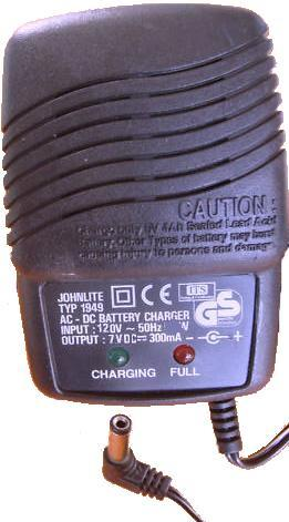 JOHNLITE 1949 Battery Charger 7VDC 300mA -(+) 2x5.5mm 90° 120vac