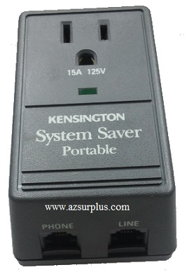 KENSINGTON System Saver 62182 AC ADAPTER 15A 125V Used Transiet