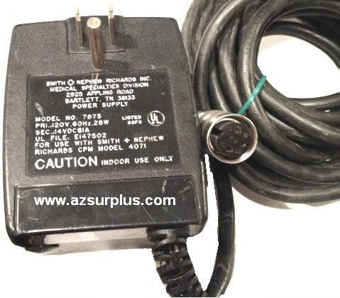 KINETEC 7875 AC ADAPTER 14VDC 1A USED 3PIN DIN WITH THUMBNUT