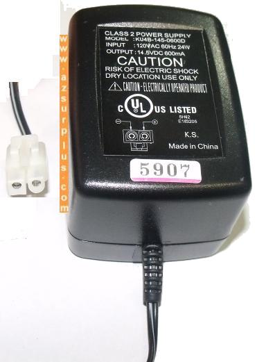 KU4B-145-0600D AC ADAPTER 14.5V 600mA CLASS 2 POWER SUPPLY