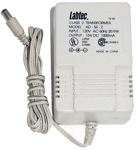 LABTEC AD-SS-2 AC ADAPTER 15VDC 1000mA USED +(-) 2x5.5mm SPEAKER