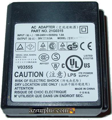 LEXMARK CLICK CPS020300050 AC ADAPTER 30V 0.50A USED CLASS 2 TRA