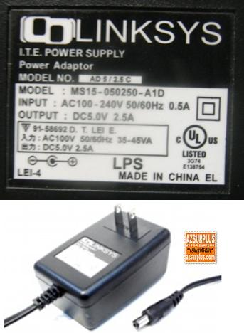 LINKSYS MS15-050250-A1D AC ADAPTER 5V 2.5A PLUG IN POWER SUPPLY