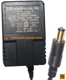 LZR AD1515A-5 AC Adapter 15Vdc 1.5A -(+)- 2x5.5mm 1500mA 45W Pow