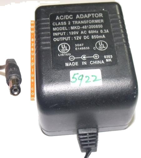 MKD-481200850 AC DC ADAPTER 12V 850mA PLUG IN POWER SUPPLY