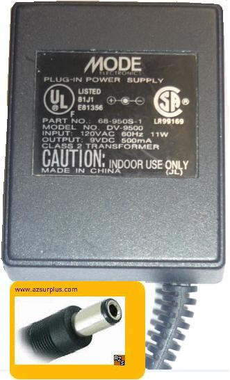 MODE DV-9500 AC ADAPTER 9VDC 500mA USED 2x5.5mm DV-9500-1 POWER