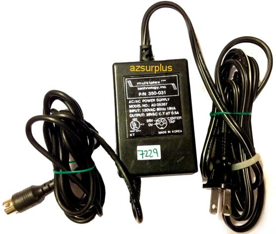 MULTIPLEX AD 05387 AC ADAPTER 28VAC C.T AT 0.5A USED 5PIN DIN