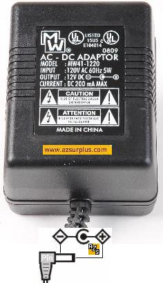MW 18-396 12v 200mA AC DC ADAPTER DIRECT PLUG IN POWER SUPPLY