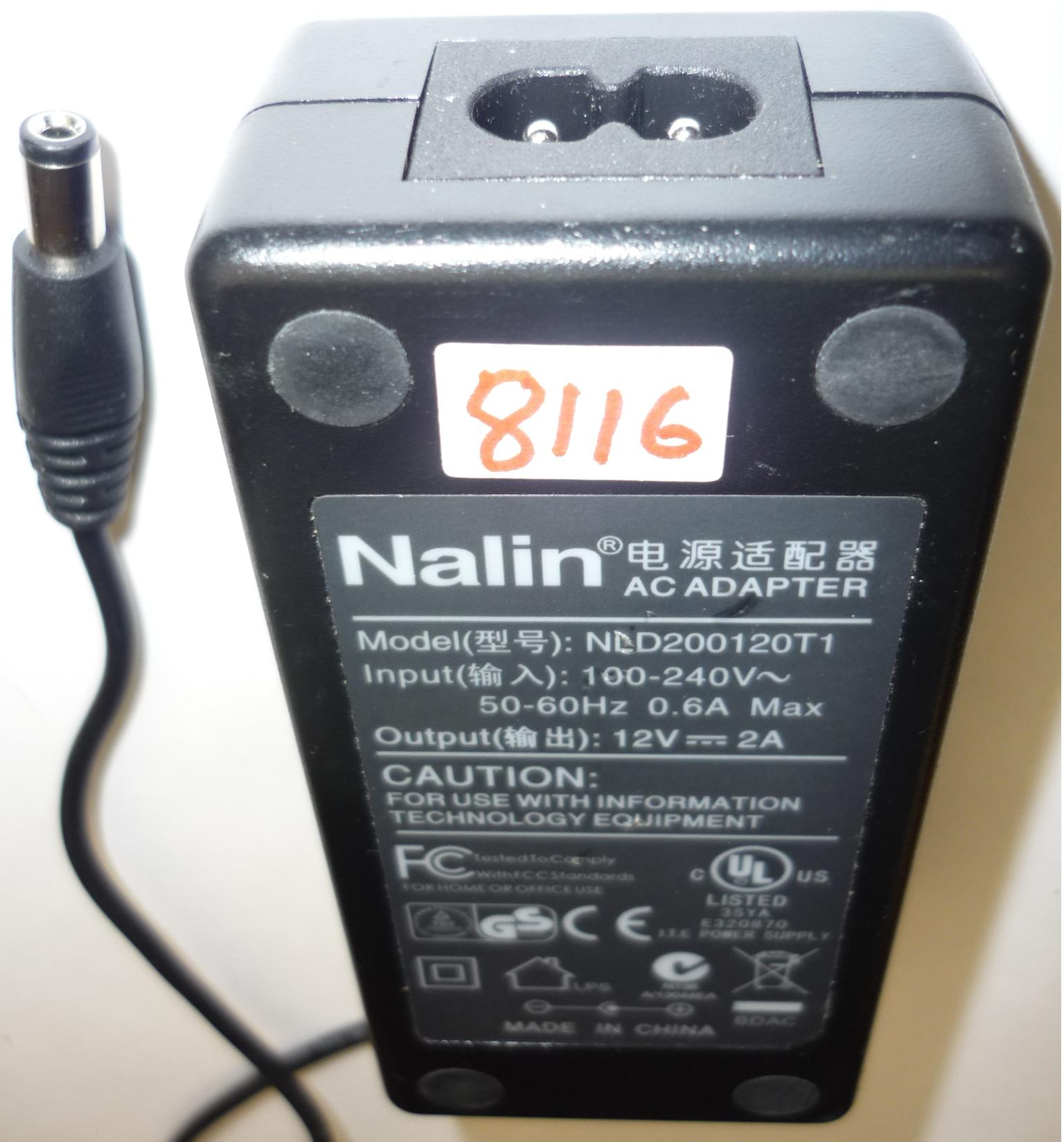 NALIN NLD200120T1 AC ADAPTER 12VDC 2A USED -(+) 2x5.5mm ROUND BA