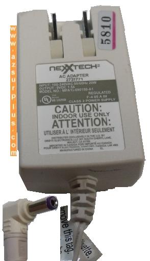 NEXXTECH ADP-5FH D AC ADAPTER 9V 1500mA CLASS 2 POWER SUPPLY