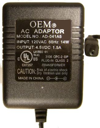 OEM AD-041A5 AC ADAPTER 4.5VDC 1.5A -(+)- 1.2x3.7mm POWER SUPPLY