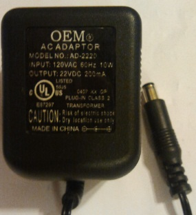 OEM AD-222D AC ADAPTER 22VDC 200mA -(+)- 3x6.5mm POWER SUPPLY