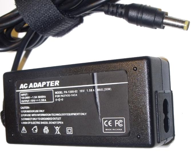 AC ADAPTER PA-1300-02 AC ADAPTER 19V 1.58A 30W USED 2.4 x 5.4 x