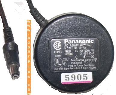 PANASONIC RP-65 AC ADAPTER 6Vdc 200mA PLUG IN POWER SUPPLY