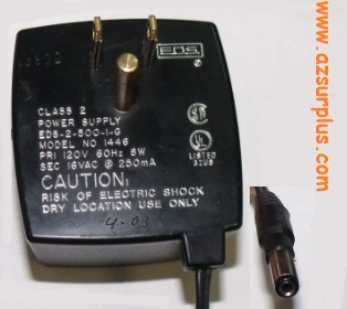 PARKS 1446 AC ADAPTER 16VAC 250mA POWER SUPPLY DIRECT PLUG IN CL