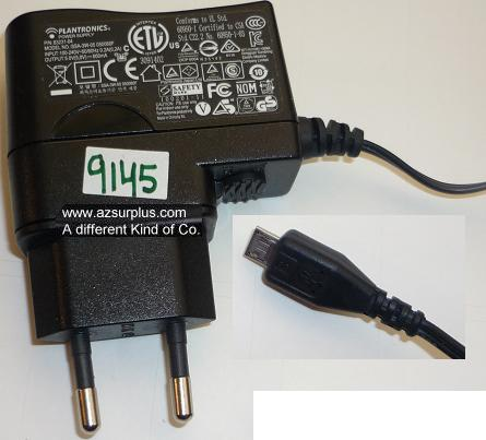PLANTRONICS SSA-3W-05 050060F AC ADAPTER 5VDC 600mA USED EUROPE