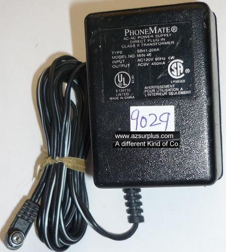 PhoneMate M/N-40 AC ADAPTER 9VAC 450mA USED ~(~) 2.5x5.5mm 90