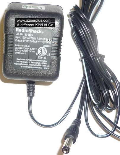 RADIOSHACK 43-3825 AC ADAPTER 9VDC 300mA USED -(+) 2x5.5x11.9mm