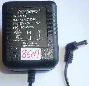 RADIO SYSTEMS AS-A12750-BR AC ADAPTER 12V 150mA USED ~(~) 2x5.5x