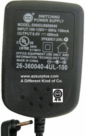 S005IU0600040 AC ADAPTER 6VDC 400mA USED -(+) 1.5x4mm 120vac 90°