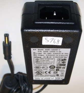 Datalogic SA06-12S05R-V AC ADAPTER 5.2VDC 2.4A USED +(-) 2x5.5m