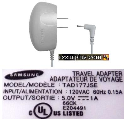 SAMSUNG TAD177JSE AC ADAPTER 5V DC 1A CELL PHONE CHARGER