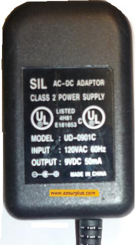 SIL UD-0901C AC ADAPTER 9VDC 50mA PLUG IN CLASS 2 TRANSFORMER