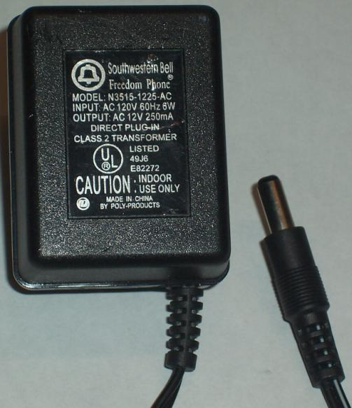 SOUTHWESTERN BELL N3515-1225-AC ADAPTER 12VDC 250MA POWER SUPPLY