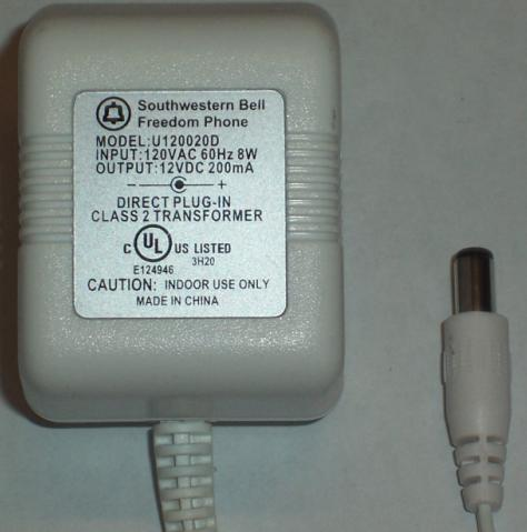 SOUTHWESTERN BELL U120020D AC ADAPTER 12VDC 200MA POWER SUPPLY