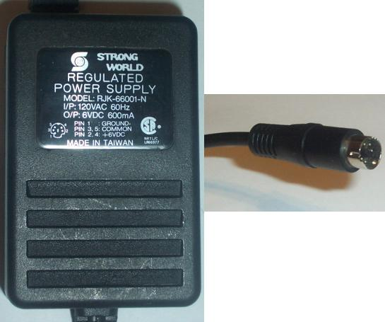 STRONG WORLD RJK-66001-N AC DC ADAPTER 6V 600MA POWER SUPPLY