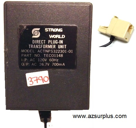 STRONG WORLD ACTNPS322301-01 AC ADAPTER 26.7V 700mA USED 1 RJ12