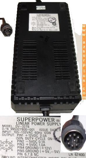 SUPER POWER DV-3278 AC ADAPTER +5V 1.0A LINEAR POWER SUPPLY