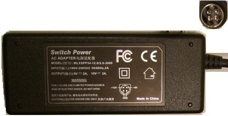 SWITCH POWER WLXSPP34-12.0/5.0-2000 AC DC ADAPTER 12V 5V 2A I.T.
