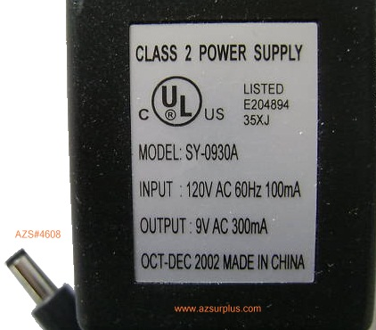 SY-0930A AC Adapter 9VAC 300mA Power Supply