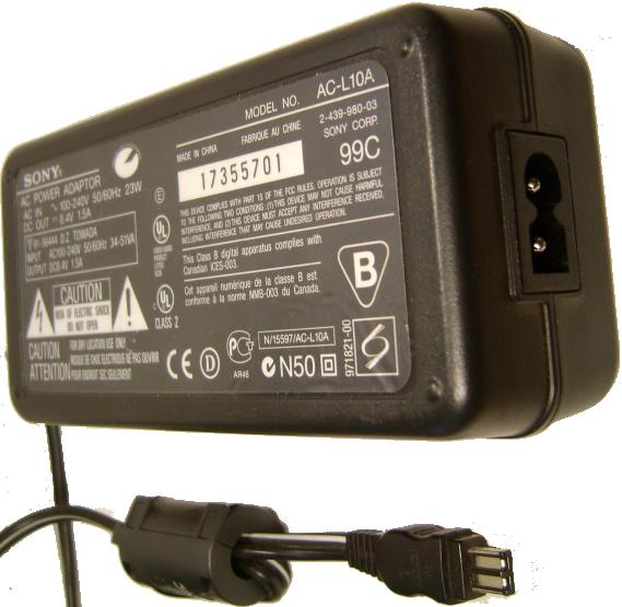 SONY AC-L10A AC DC ADAPTER 8.4V 1.5A Charger POWER SUPPLY CD200