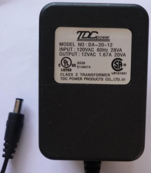 TDC POWER DA-20-12 AC ADAPTER 12VAC 1.67A ~(~) 2.5x5.5mm Used 12