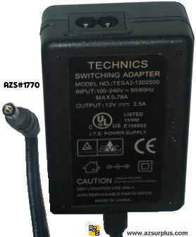 TECHNICS TESA2-1202500 AC DC ADAPTER 12V 2.5A POWER SUPPLY