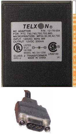 TELXON DV-1230 AC ADAPTER 12VDC 200mA 8Pin 120vac Power supply