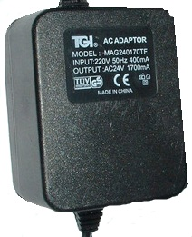 TGI MAG240170TF AC ADAPTER 24VAC 1700mA USED SHIELDED WIRE