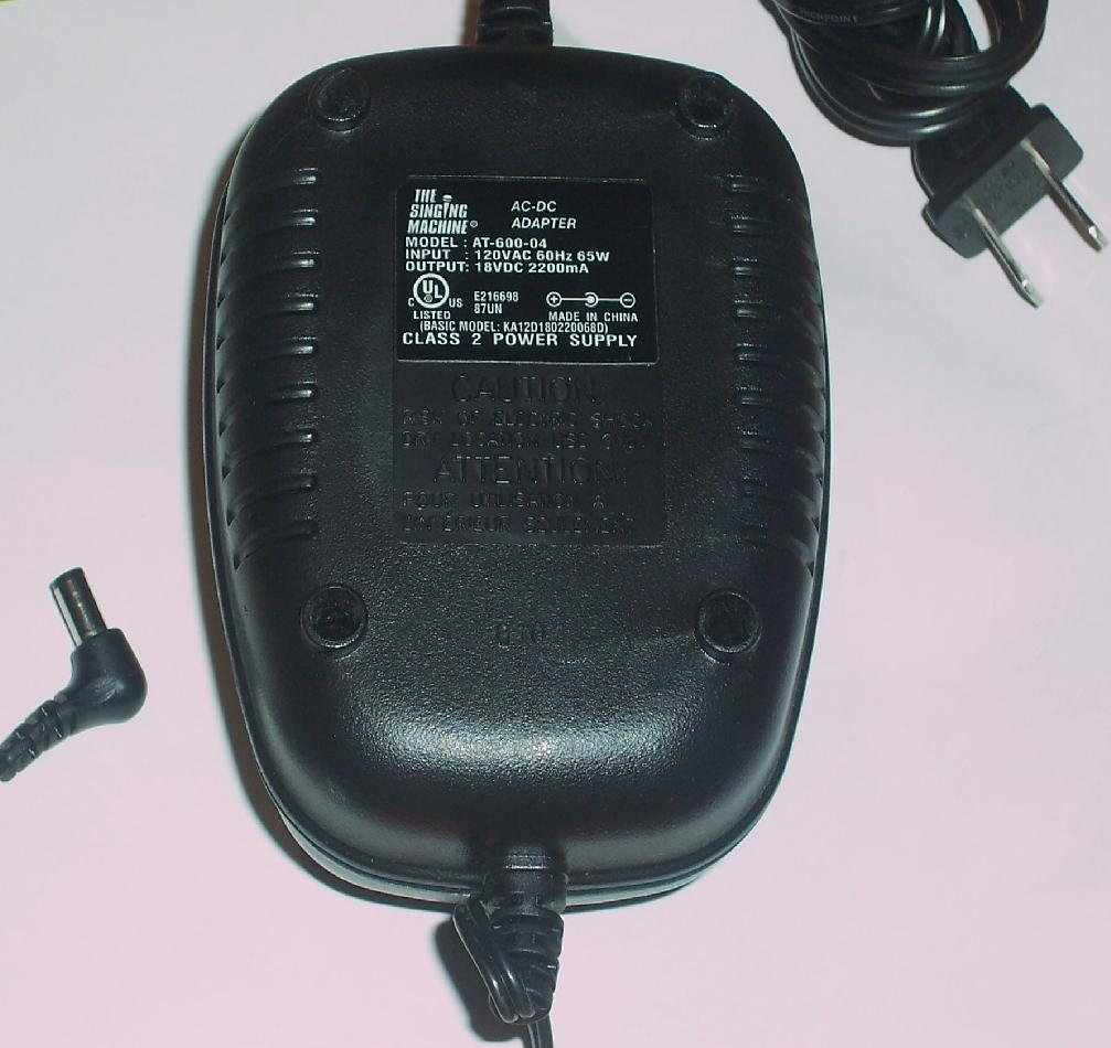 THE SINGING MACHINE AT-600-04 AC DC ADAPTER 18V 2200mA