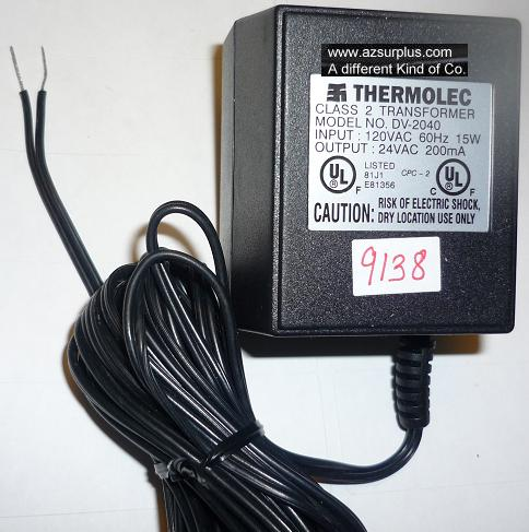THERMOLEC DV-2040 AC ADAPTER 24VAC 200mA USED ~(~) SHIELDED WIRE