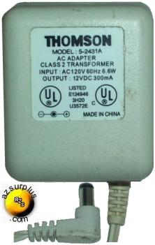 THOMSON 5-2431A AC ADAPTER 12VDC 300MA POWER SUPPLY