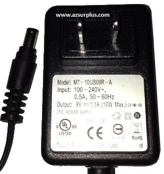 TOUCH ELECTRONIC M7-10US08R-A AC ADAPTER 9VDC 1.1A 10W USED 2.2x